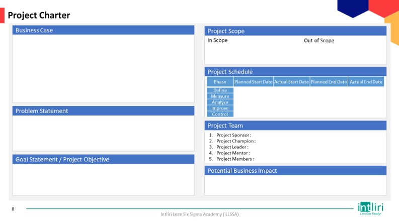Project charter sample template for Define stage DMAIC project